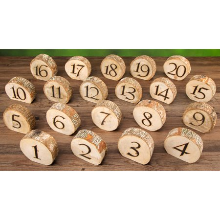 David Tutera Rustic Wedding Wood Slice Table Numbers: 20 pieces (Table Number Ideas)