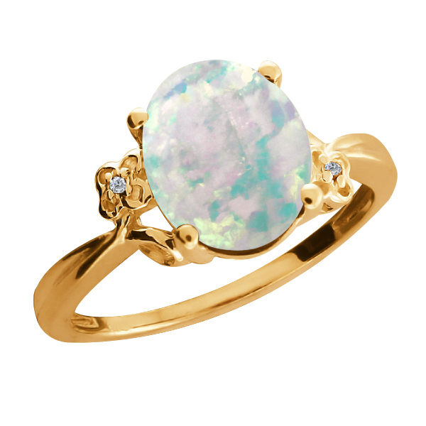 2.16 Ct Oval Cabochon White Simulated Opal Diamond Gold Plated 925 Silver Ring