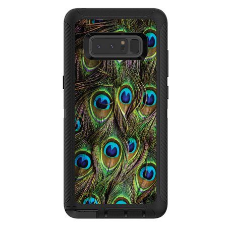DistinctInk™ Custom Black OtterBox Defender Series Case for Samsung Galaxy Note 8 - Peacock Feathers