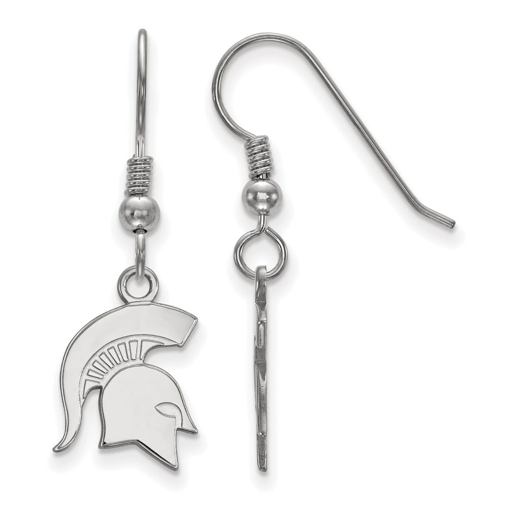 Michigan State Small (1/2 Inch) Dangle Earrings Wire (Sterling Silver)