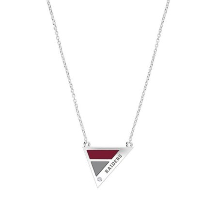 Colgate University - Raiders Engraved Diamond Geometric Necklace in Dark Red and Dark Grey (Raiders Necklace)