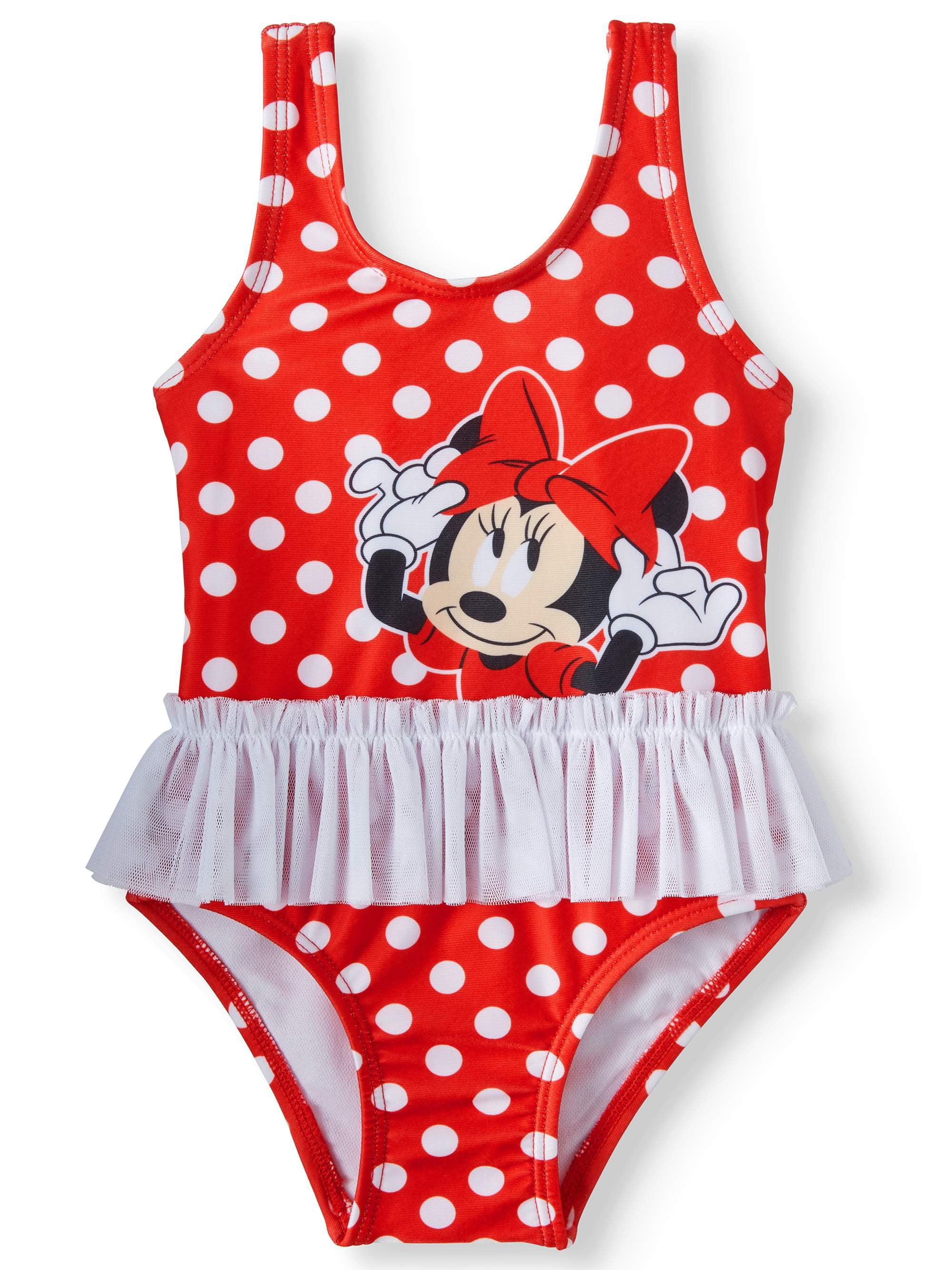 ed23b5d776 Minnie Mouse - Baby Girls' Minnie Mouse Polka Dot Tutu One Piece Swimsuit -  Walmart.com