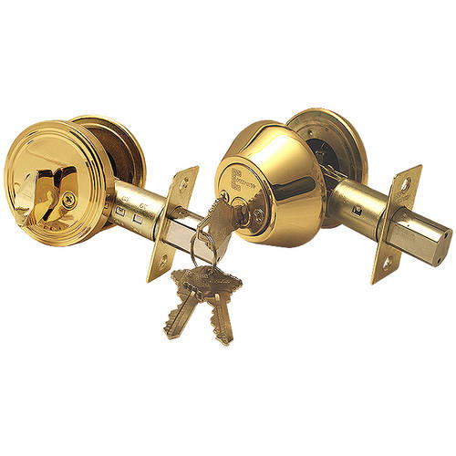 """Constructor"" Deadbolt Door Lock Set with Single Cylinder, Polished Brass Finish"
