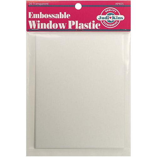 "Embossable Window Plastic Sheets 4.25"" x 5.5"" 20/pkg, Clear"