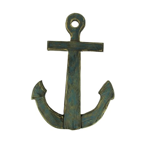 Distressed Finish Wooden Nautical Anchor Wall Hanging ()