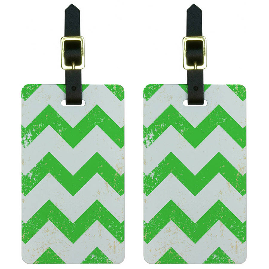 Vintage Chevrons Green Luggage Tags Suitcase Carry-On ID, Set of 2