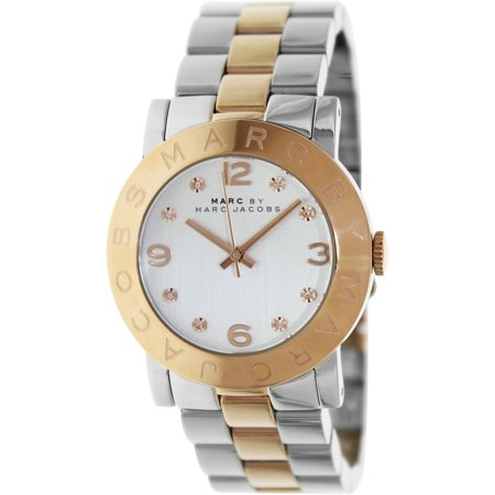 Marc by Marc Jacobs Women's MBM3194 Silver Stainless-Steel Quartz Fashion Watch For the au courant of the timepiece world this impressive Marc By Marc watch does not disappoint. The true focal point of this watch is the bold white dial and the Rose-Gold hands which rest under a quality Mineral crystal. All is secured within a 36mm stainless steel case and the watch is driven by a precise Japanese-quartz movement. A 50 meter water resistance is made possible by the considerable structural integrity of this timepiece ensuring a reliable accessory to last for years to come. Additional features include measures seconds.