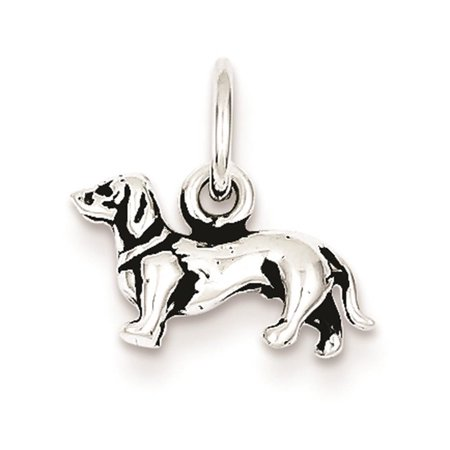 Sterling Silver Dog Pendant - 925 Sterling Silver Antiqued 3-d Dog Polished 9mm x 13mm Charm Pendant