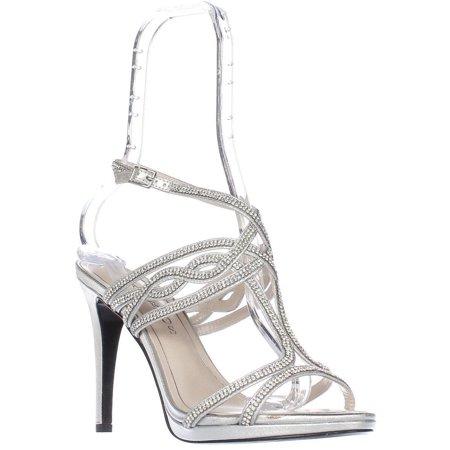 Womens Caparros Heather T-Strap Rhinestone Sandals - Silver Caparros T-strap Sandals