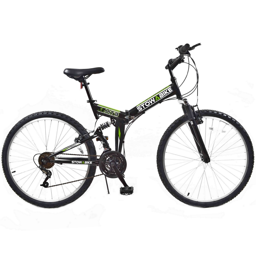 "Stowabike 26"" MTB V2 Folding Dual Suspension 18 Speed Gears Mountain Bike Black"