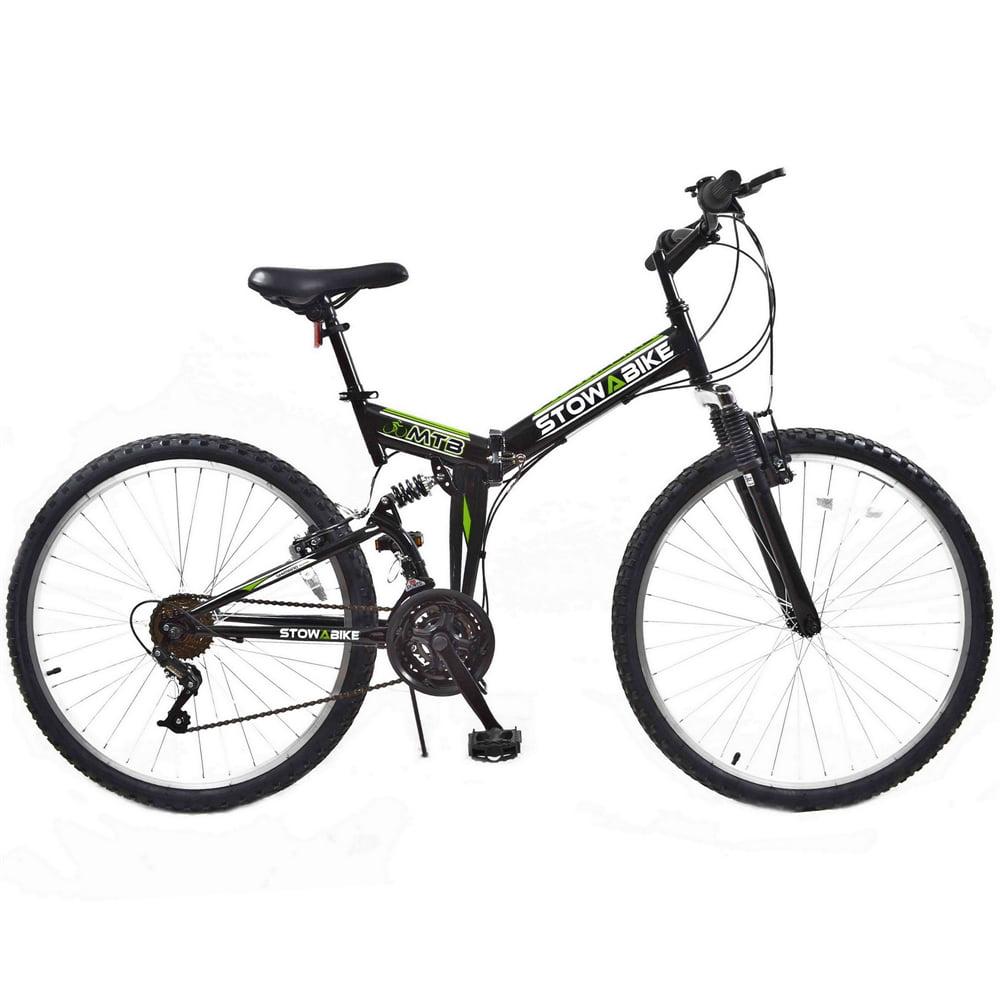 "Stowabike 26"" MTB V2 Folding Dual Suspension 18 Speed Gears Mountain Bike Black"