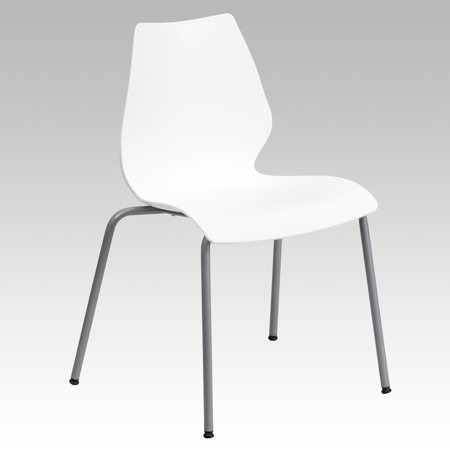 770 lb. Capacity White Stack Chair with Lumbar Support and Silver - Support Stack