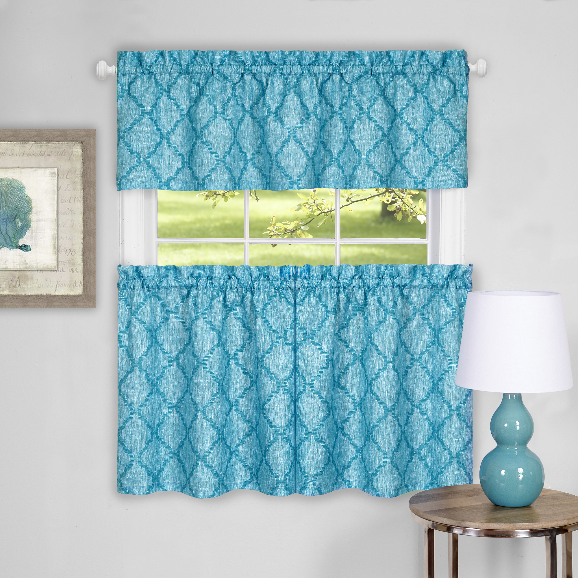 Achim Colby Window Curtain Tier Pair and Valance Set
