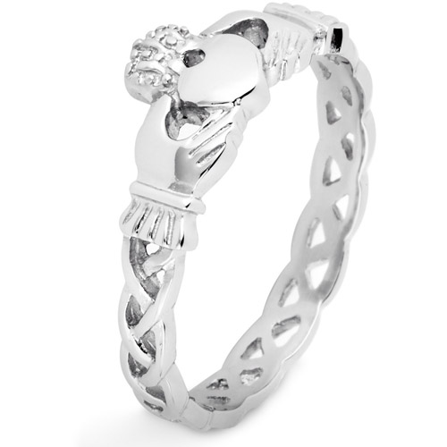 ELYA Stainless Steel Claddagh Ring with Celtic Knot Eternity Design, 3mm