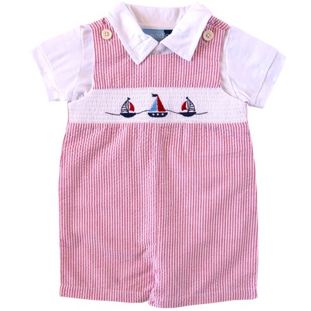 Good Lad Infant Boys Red Seersucker Smocked Shortall Set with Nautical Theme