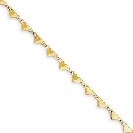 14k Yellow Gold Adjustable Heart and Oval Link Chain Anklet, 9 -