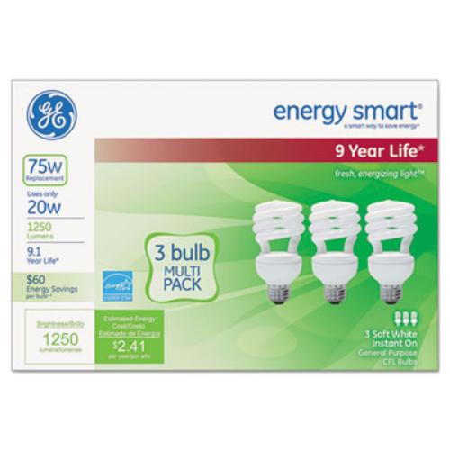 Sli Lighting 97690 Energy Smart Compact Fluorescent Spiral Light Bulb, 20 W, Soft White, 3/pack