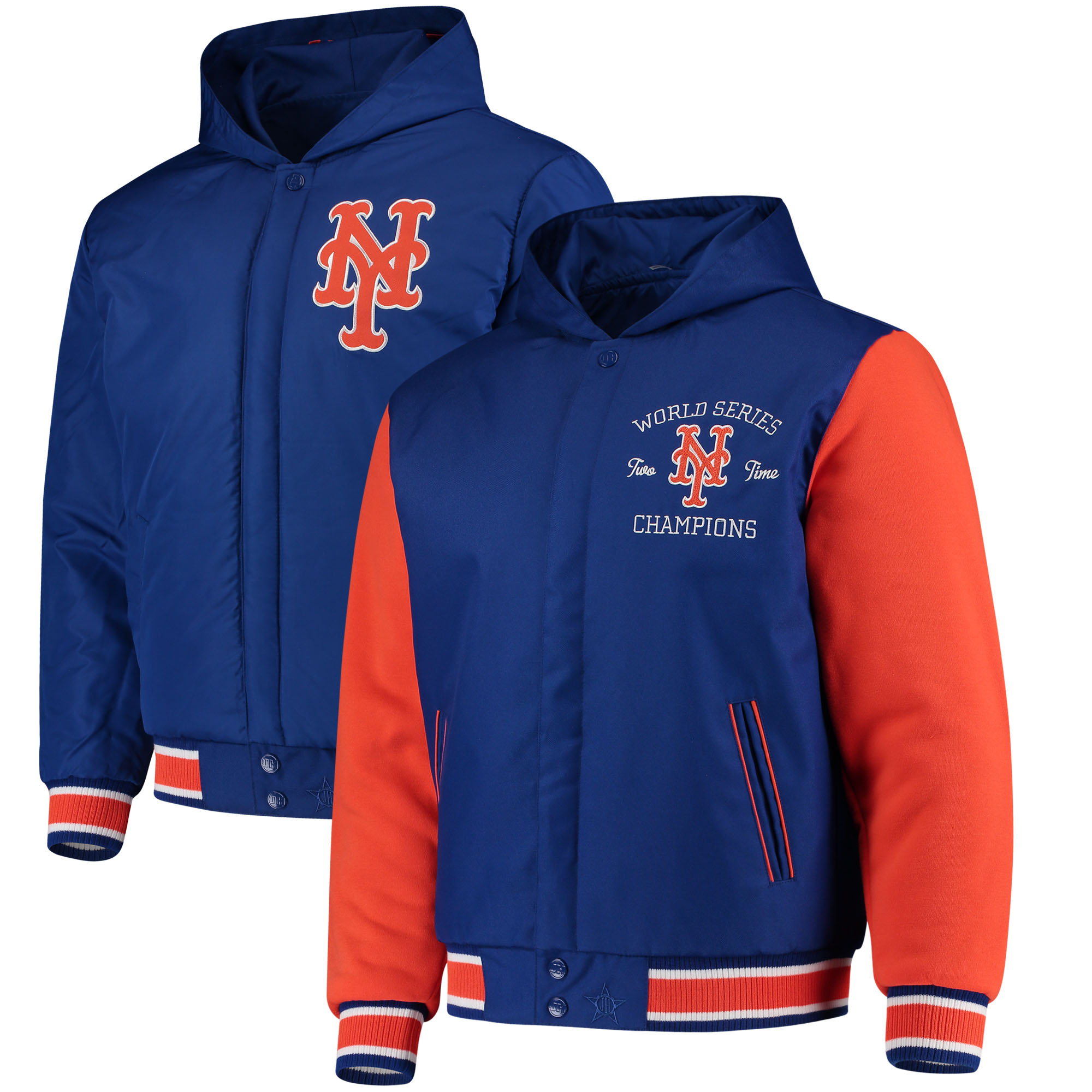 New York Mets JH Design Reversible Poly-Twill Hooded Jacket - Royal