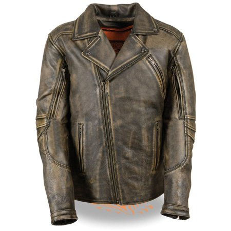 Milwaukee Leather Mens Triple Stitch Beltless Distressed Brown Leather Jacket w