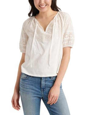 Lucky Brand Womens Embriodered Cut-Out Peasant Top