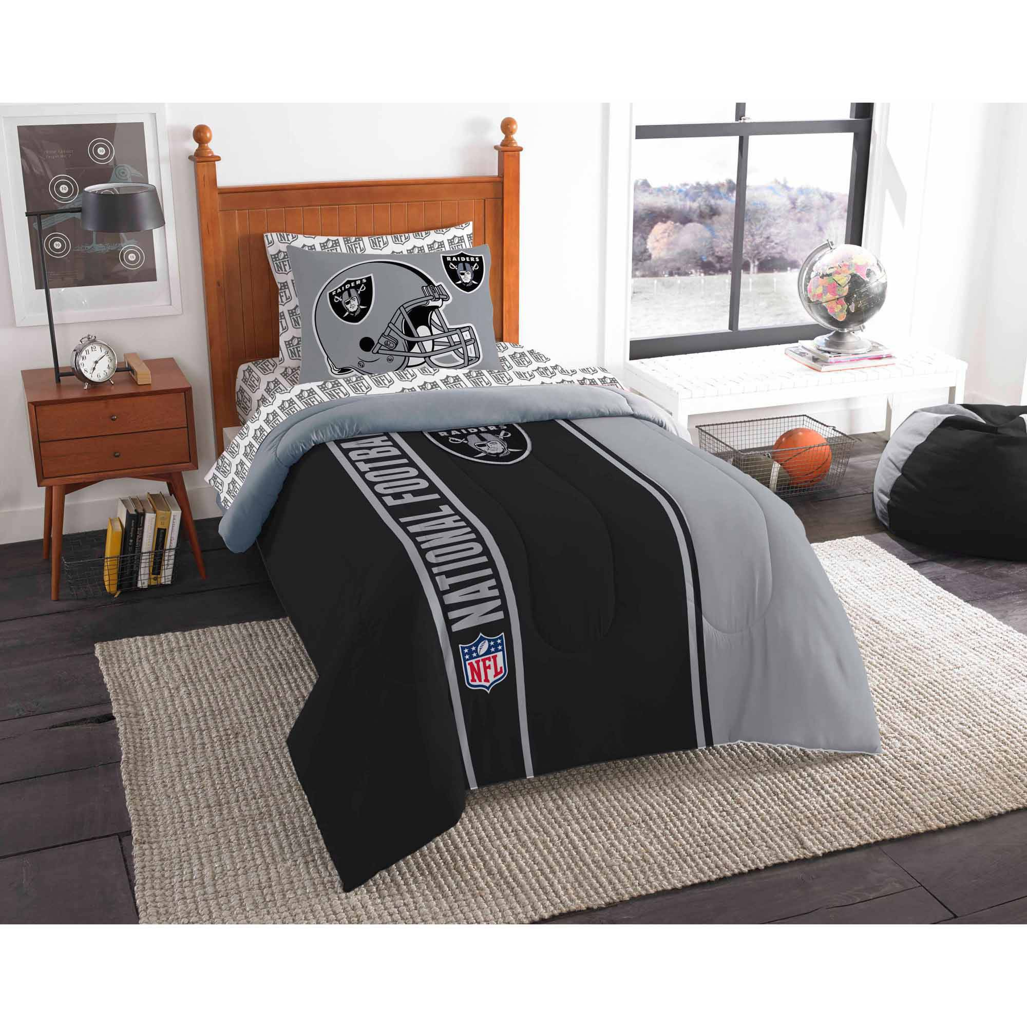 NFL Oakland Raiders Soft and Cozy Bed in a Bag Complete Bedding Set