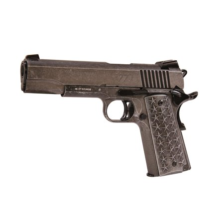 Sig Sauer Airguns 1911WTP 1911 We The People Air Pistol Semi-Automatic CO2 .177 BB 17 rd Distressed Stainless Steel 357 Sig Pistols