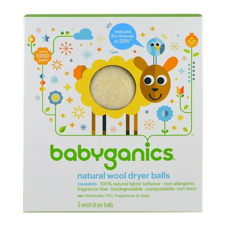 BabyGanics, Natural Wool Dryer Balls, 3 Wool Dryer Balls BabyGanics, Natural Wool Dryer Balls, 3 Wool Dryer Balls