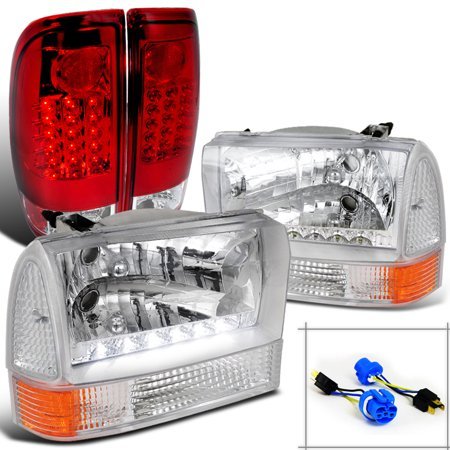 Spec-D Tuning 1999-2004 Ford F250 Super Duty Chrome Smd Headlights + Corner Lights + Red Led Tail Lamps (Left + Right) 99 00 01 02 03 04