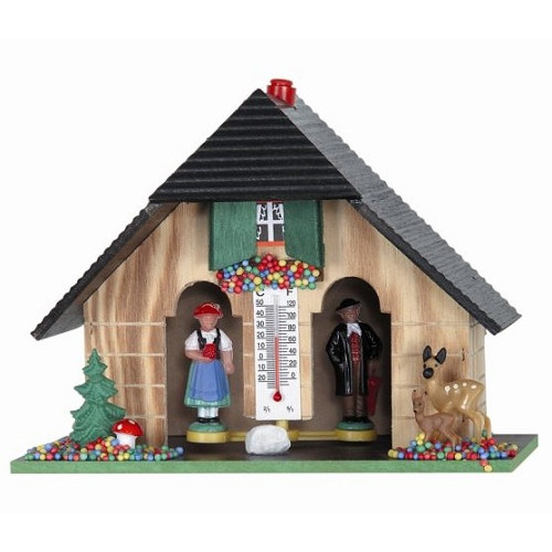 Pinnacle Peak Trading Co Weather House with Black Forest Couple and Deer Thermometer and Hygrometer