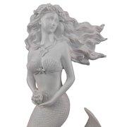 Glittering White Flowing Hair Mermaid Sculpture Wall Art Plaque Beach Home Decor