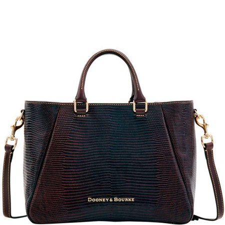 Dooney & Bourke ESPRESSO/BROWN Lizard-Embossed Leather Top-Zip Medium Satchel