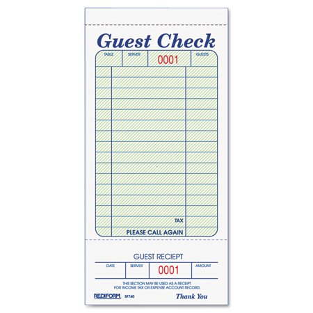 Guest Check Book, 3 3/8 x 6 1/2, Tear-Off at Bottom, - Graduation Guest Book Ideas