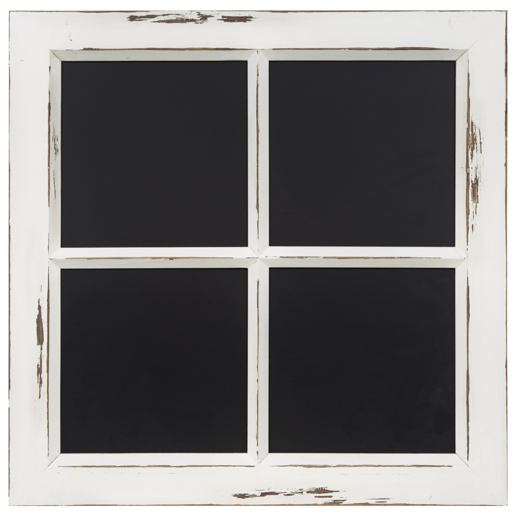 Distressed White Rustic Framed Window Pane Wall Chalkboard by Gallery Solutions