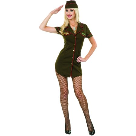 Womens  Green Army Angel Soldier Officer Costume