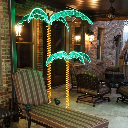 Wintergreen Lighting 4.5' Holographic Lighted Palm Tree, LED Palm Tree Patio Decor, UV Protected
