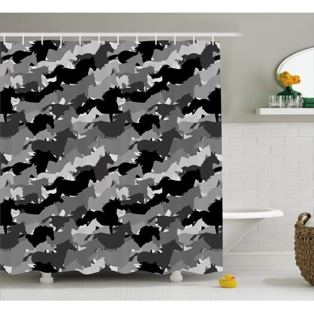 Horses Shower Curtain Mustang Herd Galloping Together Animal Silhouettes Wildlife Abstract Fabric Bathroom Set
