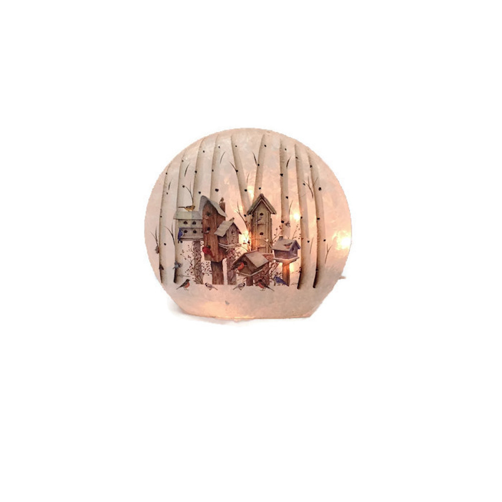 Stony Creek Frosted Glass Round Tall Trees & Birdhouses by Bird Houses