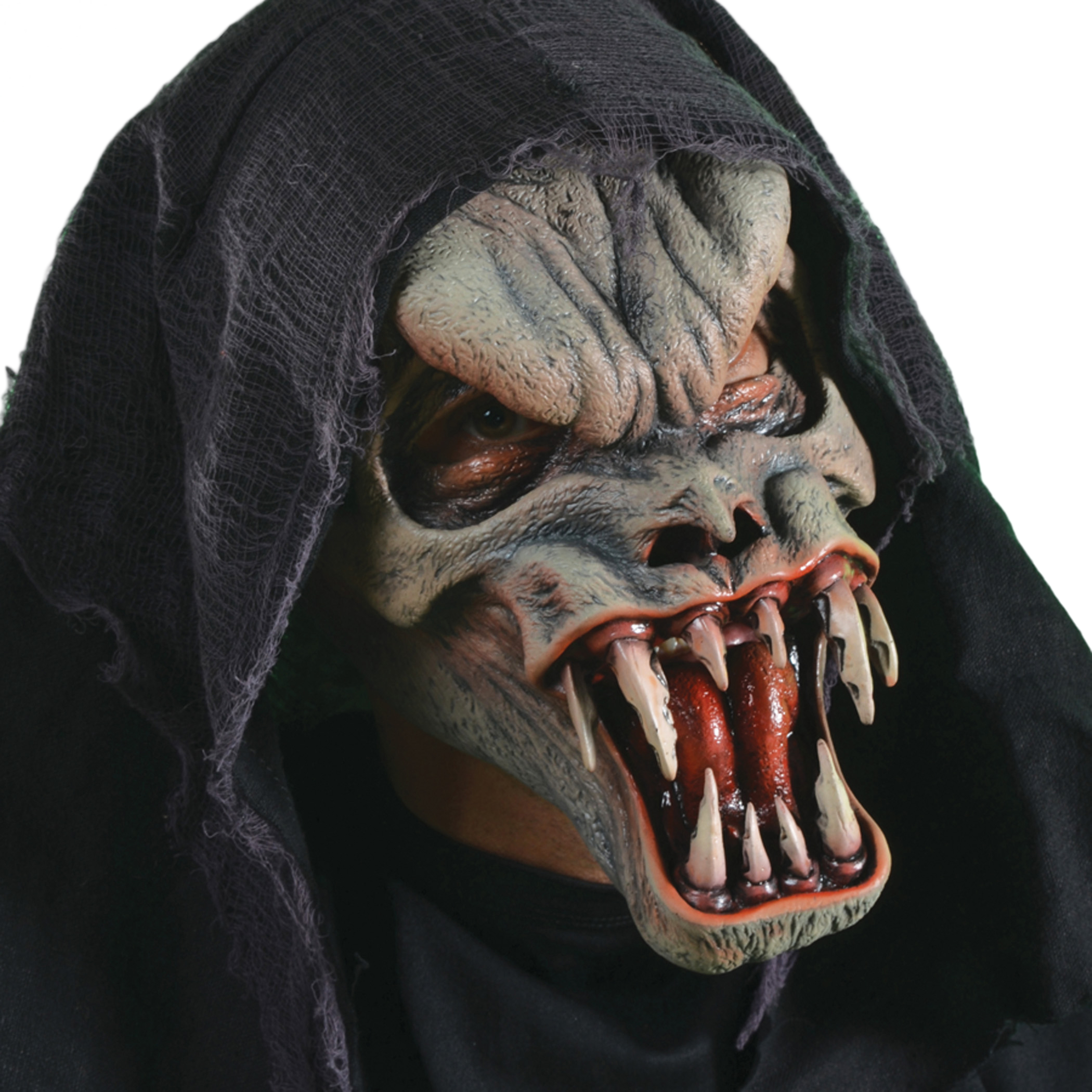 Zagone Fanged Death With Hood Monster Ghoul Full Head Mask, Grey, One Size