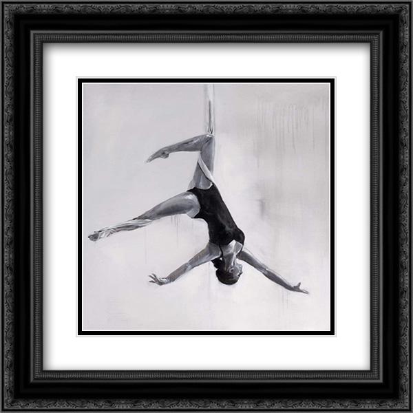 Woman Dancer on Aerial Silks 2x Matted 20x20 Black Ornate Framed Art Print by Atelier B Art Studio