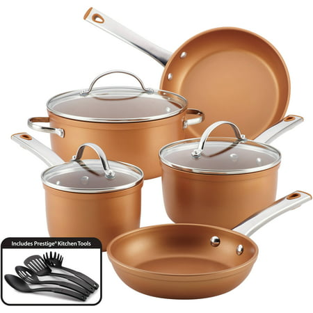 Farberware Stainless Steel Classic Cookware - Farberware 12-Piece Colortech Aluminum Nonstick Cookware Set, Copper