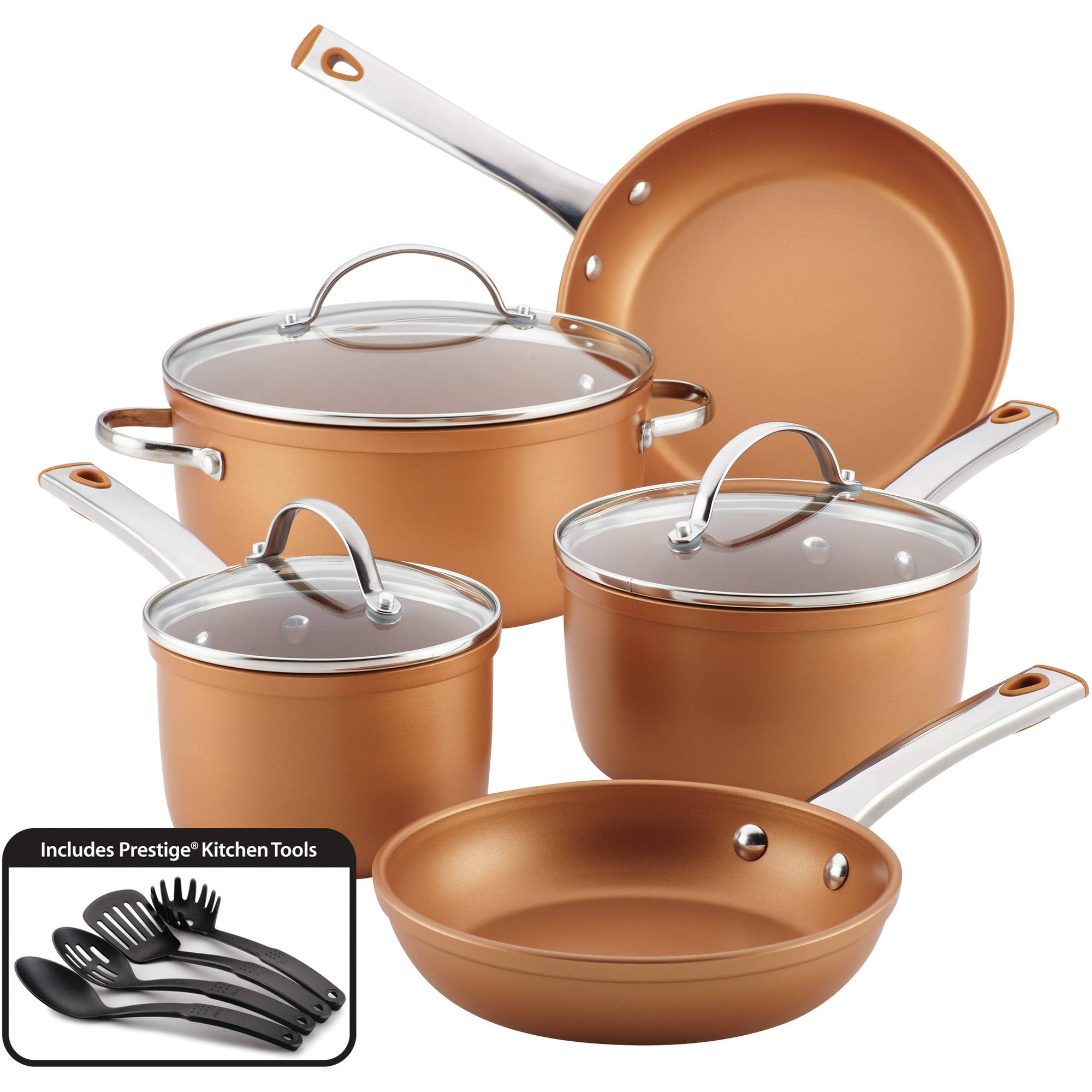 Farberware 12-Piece Colortech Aluminum Nonstick Cookware ...