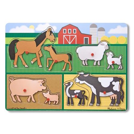 Melissa And Doug Farm Puzzle (Melissa & Doug Mother and Baby Farm Animal Families Wooden Peg Puzzle,)