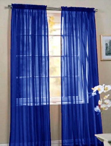 "Set of 2 Sheer Voile Window Curtain Panels, 84"" Long, Orange"