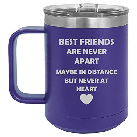 15 oz Tumbler Coffee Mug Travel Cup With Handle & Lid Vacuum Insulated Stainless Steel Best Friends Long Distance Love