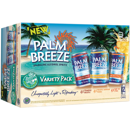 Palm Breeze Sparkling Alcohol Spritz Variety Pack, 12 fl oz, 12 pack