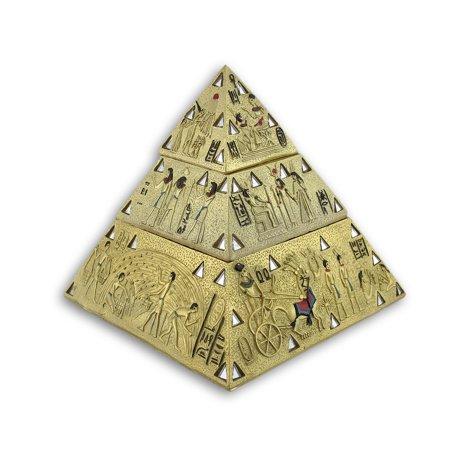Ancient Egyptian Golden Pyramid Double Trinket Box Floral Gold Trinket Box