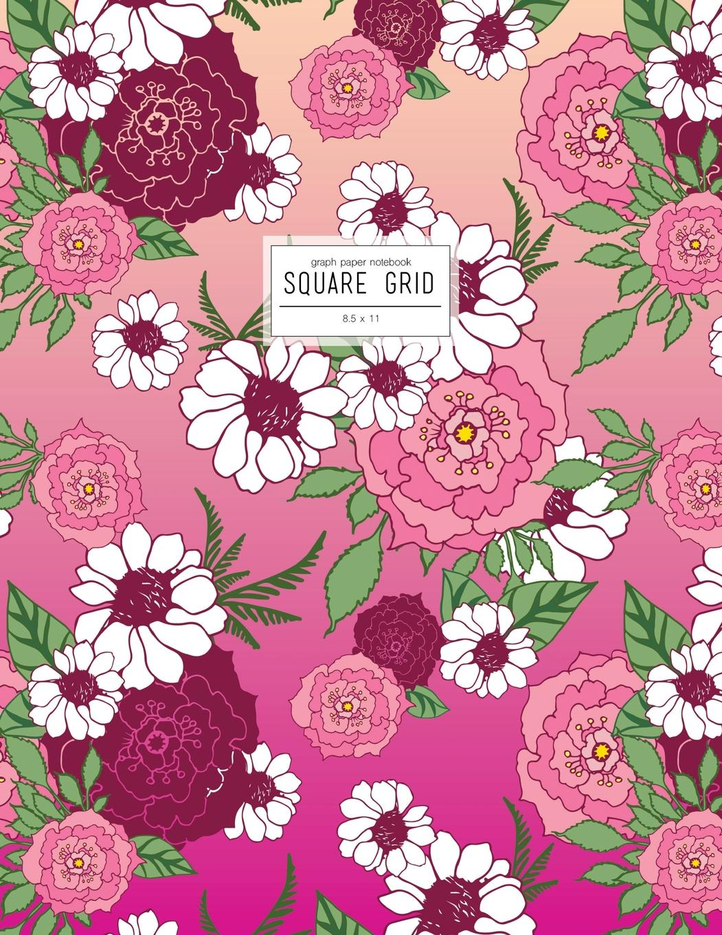 square grid graph paper notebook 8 5 x 11  pink floral journal to write in  paperback