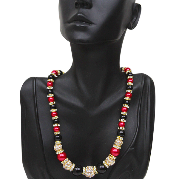 "Stunning Crystal Pave Ball with Red and Black Color Beads Necklace 16"" +2"" Extender"