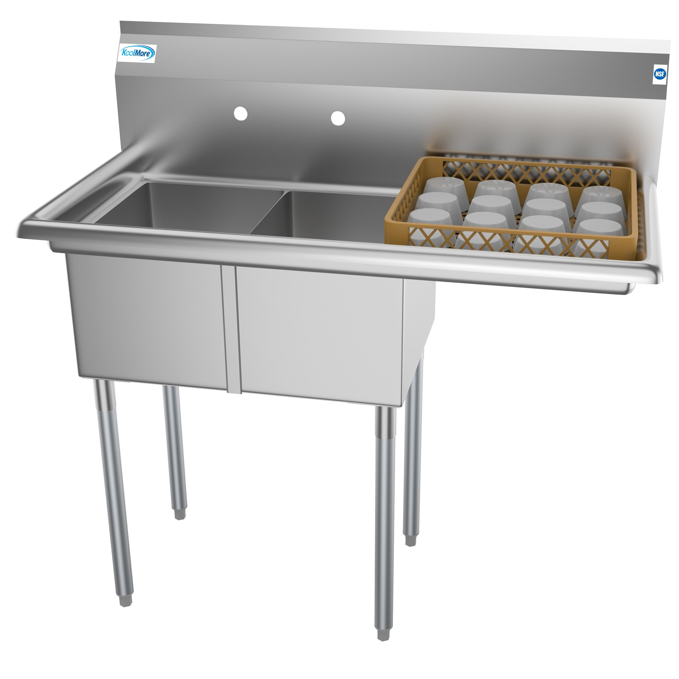 """2 Compartment 43"""" Stainless Steel Commercial Kitchen Prep & Utility Sink with Drainboard - Bowl Size 12"""" x 16"""" x 10"""""""