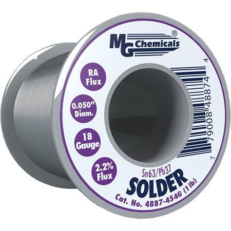 MG Chemicals 63/37 Rosin Core Leaded Solder, 0.05' Diameter, 1 lb